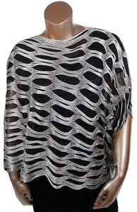 BLACK SILVER METALLIC OPEN WEAVE FRINGED WRAP SHAWL PONCHO