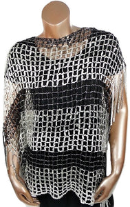 BLACK WHITE SILVER METALLIC OPEN WEAVE FRINGED WRAP SHAWL PONCHO