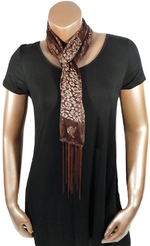 BROWN CHEETAH FLOWER FASHION WOMEN PRINTED SOFT SCARF SHAWL WITH FRINGES AND GLITTER