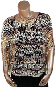 BROWN WHITE SILVER METALLIC OPEN WEAVE FRINGED WRAP SHAWL PONCHO
