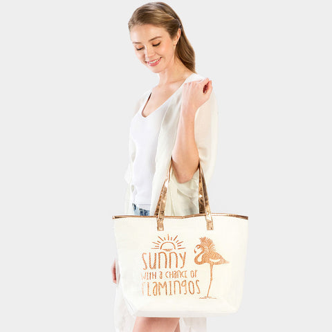 FLAMINGO PRINT BEACH TOTE BAG-ROSE GOLD