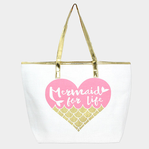 METALLIC HANDLE TOTE BAG-MERMAID FOR LIFE