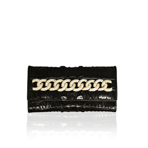 BLACK CROCO LEATHER WALLET WITH CRYSTAL CHAIN