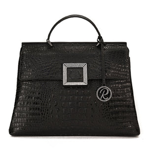 SATCHEL WITH FLAP AND SQUARE CRYSTAL ORNAMENT BLACK CROCO