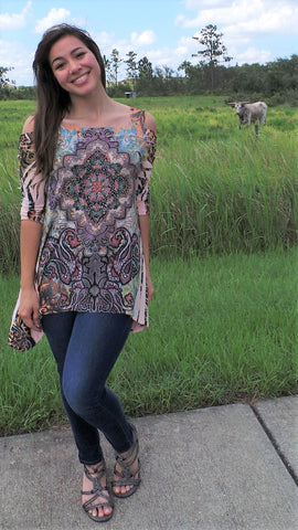 COLD SHOULDER INDIAN HENNA GEOMETRIC TOP