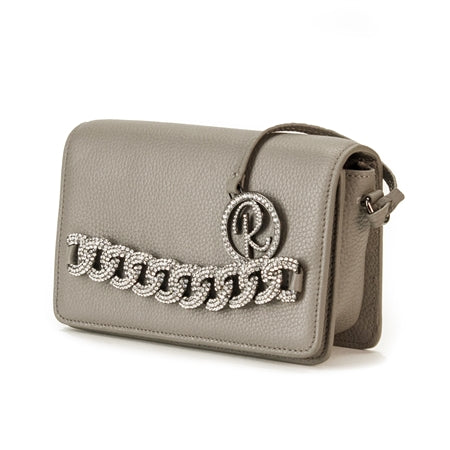 SHOULDER BAG WITH LYCHEE GRAY FLAP