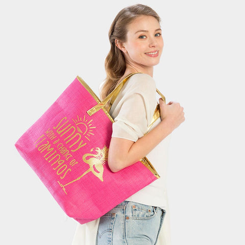 FLAMINGO PRINT BEACH TOTE BAG-HOT PINK