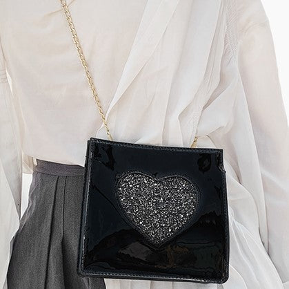 BLACK WITH GREY GLITTER HEART CROSS-BODY PURSE