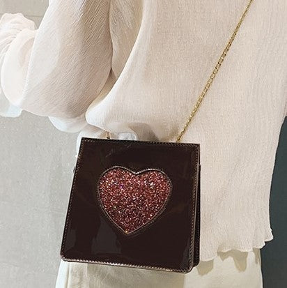 BROWN WITH RED GLITTER HEART CROSS-BODY PURSE