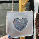 SILVER WITH IRIDESCENT  GLITTER HEART CROSS-BODY