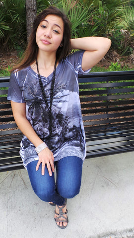 GREY PALM TREE V-NECK SHIRT