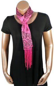 HOT PINK CHEETAH FLOWER FASHION WOMEN PRINTED SOFT SCARF SHAWL WITH FRINGES AND GLITTER
