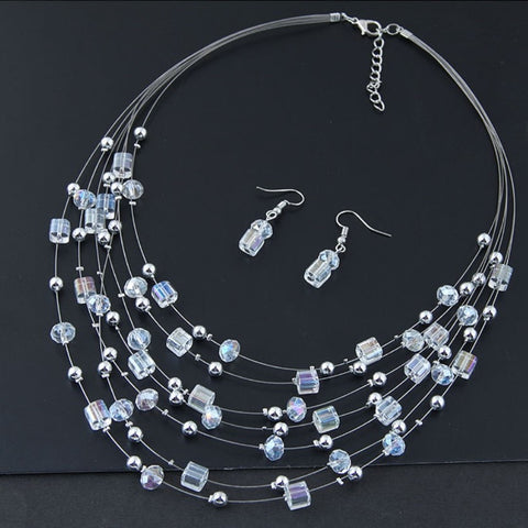 CLEAR CRYSTAL BOHEMIAN NECKLACE EARRING SET