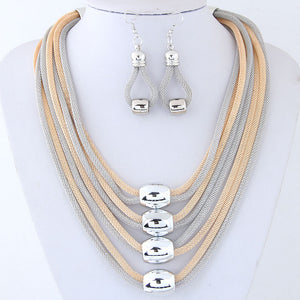 GOLD & SILVER MESH NECKLACE EARRING SET