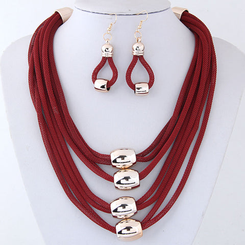 RED MESH NECKLACE EARRING SET