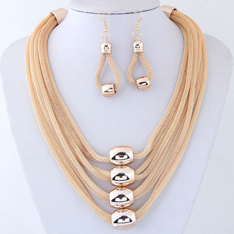 GOLD MESH NECKLACE EARRING SET
