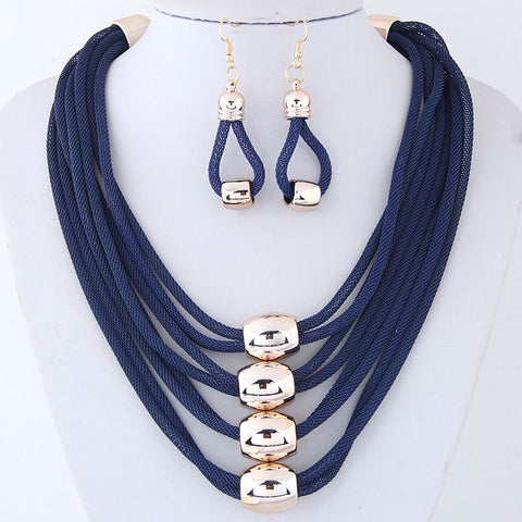 BLUE MESH NECKLACE EARRING SET