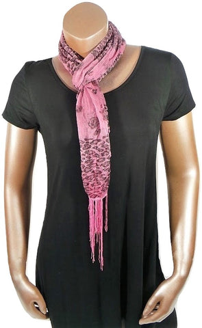 LT PINK CHEETAH FLOWER FASHION WOMEN PRINTED SOFT SCARF SHAWL WITH FRINGES AND GLITTER