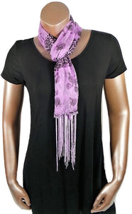 LT PURPLE CHEETAH FLOWER FASHION WOMEN PRINTED SOFT SCARF SHAWL WITH FRINGES AND GLITTER