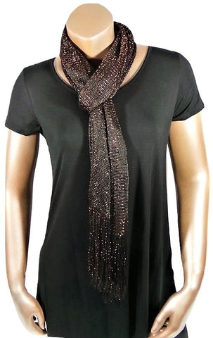 METALLIC BROWN GLITTER SHAWL SCARF WRAP