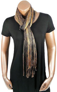 METALLIC GOLD BLACK GLITTER SHAWL SCARF WRAP