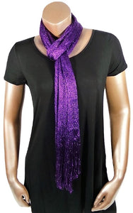 METALLIC PURPLE GLITTER SHAWL SCARF WRAP