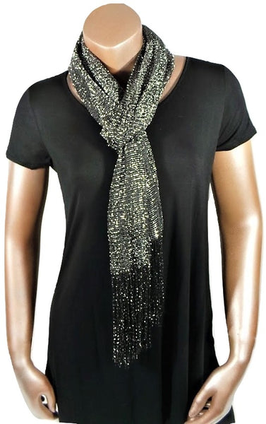 METALLIC SILVER BLACK GLITTER SHAWL SCARF WRAP