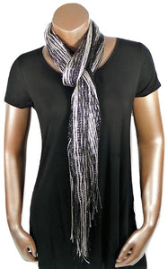METALLIC WHITE BLACK GLITTER SHAWL SCARF WRAP
