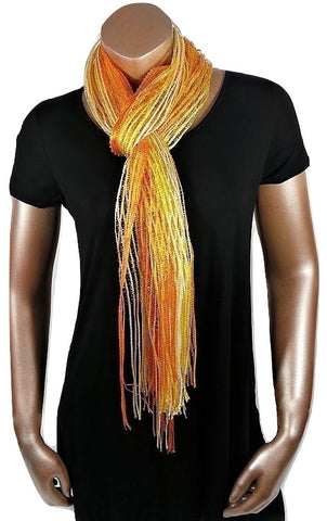 METALLIC YELLOW ORANGE GLITTER SHAWL SCARF WRAP