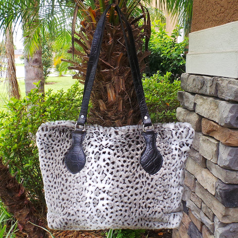 RAVIANI ARABIAN LEOPARD FAUX FUR PURSE WITH CRYSTAL ZIPPER