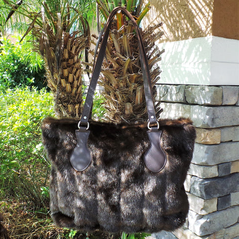 RAVIANI BROWN FOX FAUX FUR PURSE WITH CRYSTAL ZIPPER