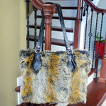 RAVIANI COYOTE FAUX FUR PURSE WITH CRYSTAL ZIPPER