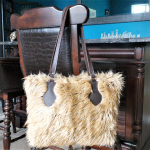 RAVIANI LT BROWN CHINCHILLA FAUX FUR PURSE WITH CRYSTAL ZIPPER