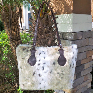 RAVIANI PERSIAN LEOPARD FAUX FUR PURSE WITH CRYSTAL ZIPPER