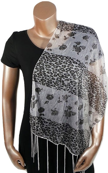 WHITE CHEETAH FLOWER FASHION WOMEN PRINTED SOFT SCARF SHAWL WITH FRINGES AND GLITTER