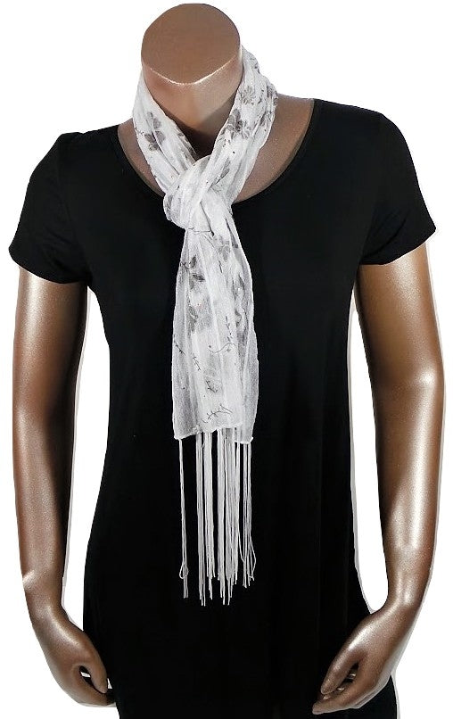 WHITE FLOWER FASHION WOMEN PRINTED SOFT SCARF SHAWL WITH FRINGES AND GLITTER