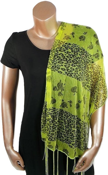 YELLOW CHEETAH FLOWER FASHION WOMEN PRINTED SOFT SCARF SHAWL WITH FRINGES AND GLITTER