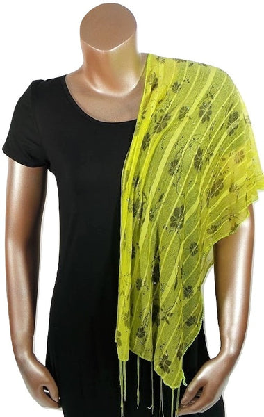 YELLOW FLOWER FASHION WOMEN PRINTED SOFT SCARF SHAWL WITH FRINGES AND GLITTER