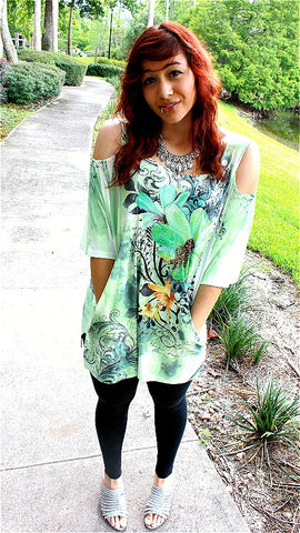 LIGHT GREEN COLD SHOULDER YELLOW FLOWER TOP
