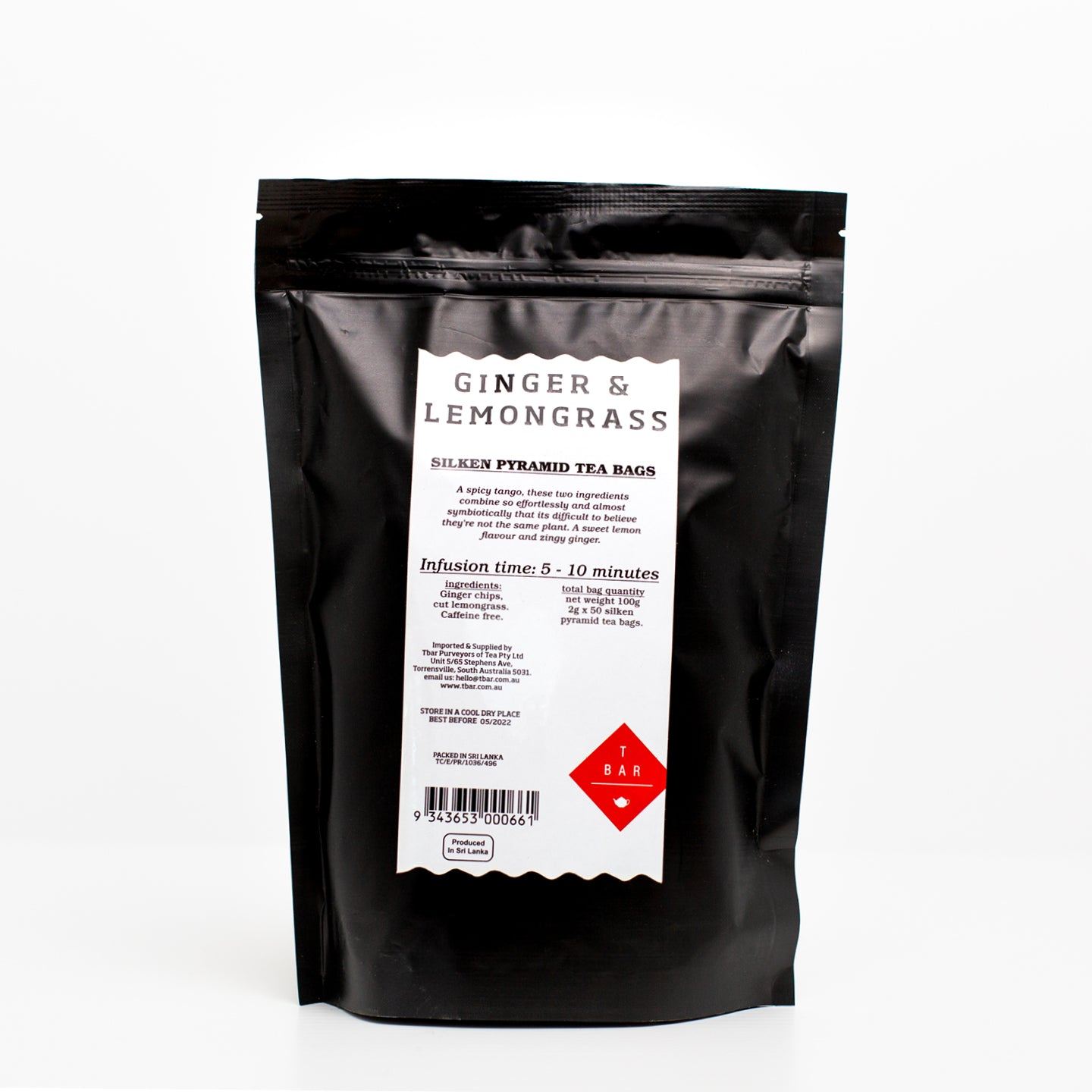 T-Bar Ginger & Lemongrass Tea Bags