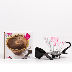 Hario V60 Glass Dripper 2 Cups Black