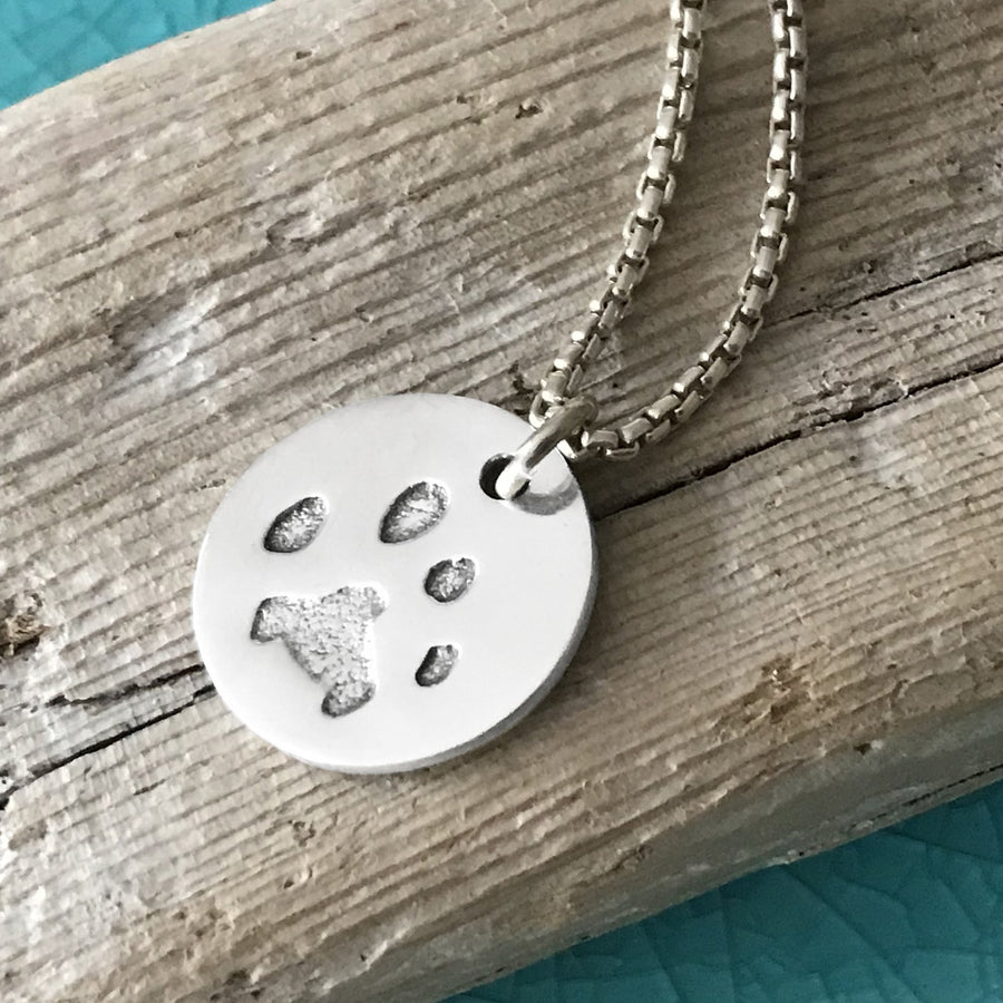 Paw Print Necklace - Silver Link