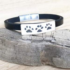 Paw Print Bracelet - Leather Cuff