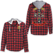 Guns N' Roses Cross Red/Blue Flannel W Hood