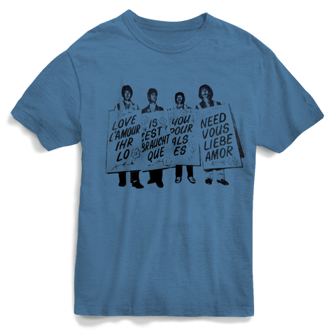 The Beatles Love You Need - Mens Dusty Blue T-Shirt