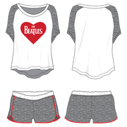 The Beatles Heart Logo - Womens White Loungewear Set