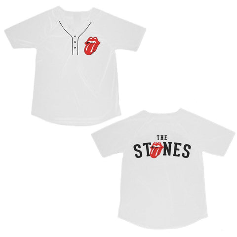Rolling Stones Tongue Logo - Mens White Jersey