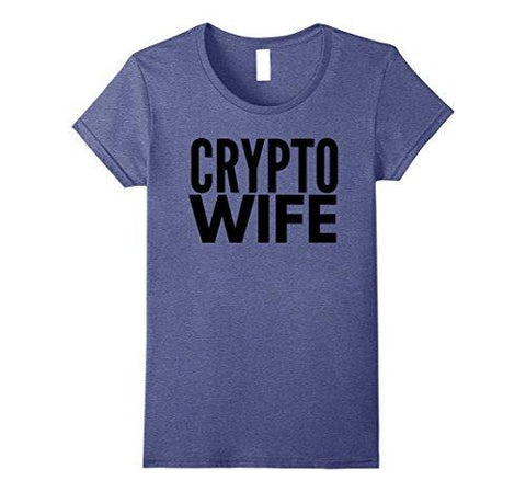 Womens Crypto Wife T Shirt TShirt T-Shirt BTC Shirt Bitcoin Gift Medium Heather Blue