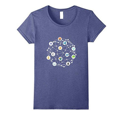 Womens Cryptocurrency Network T-Shirt Medium Heather Blue