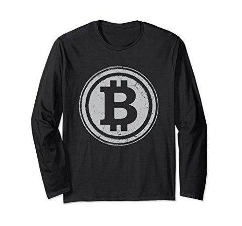 Unisex Bitcoin Long Sleeve T-Shirt Funny Crypto Currency Traders XL: Black